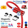 3in1 Magnetic Type C Micro USB Charger Charging Cable For Android Phones 90° 3A