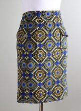 ETCETERA $228 Corduroy Blue & Brown Geo Print Toggle Pocket Skirt Size 8