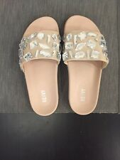 NEw Renvy Beige Bejeweled Slides Size 8