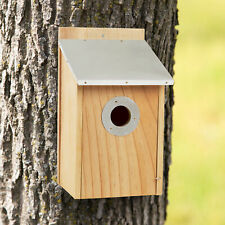 Pine Bird House Tin Roof Outdoor Weather Resistant Classic Wooden Nesting Box