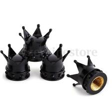 Black Crown Car Bike Wheel Air Tyre Valve Dust Caps Covers Wheel Rim Set of 4