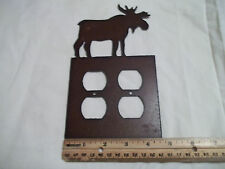 Moose Rustic Metal Double Outlet Cover Decoration Lodge Cabin Wilderness