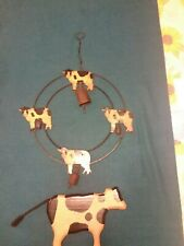 Hanging Metal Circle of Cows with Bells and Wooden Cow Decor
