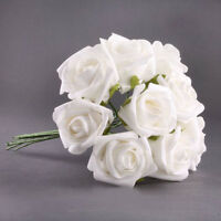 BT 20pcs Latex Touch Flowers Bouquets Rose Wedding Bouquet White