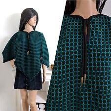 Vintage 60s Black Green Welsh Tapestry Poncho Cape Wool Mod Boho S M 8 10 12