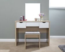 Contemporary Dressing Table Set Oak With 3 Drawer Storage - Table, Mirror, Stool