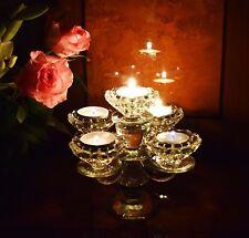 Vintage crystal cut 5 bras candélabre bougeoir/photophore détenteurs