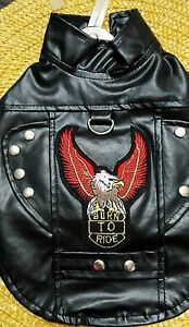 """DOG PLEATHER LEATHER EMBROIDERED BIKER JACKET HARNESS """" BORN TO RIDE"""""""