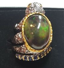 Huge black fire green flash 11ct Opal Sapphire frog ring size 8 925 silver