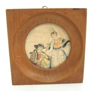 """Vintage Wood Wall Plaque Bretons France 5"""" Square Round Inset Picture Man Woman"""
