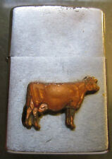 ZIPPO LIGHTER Vintage RARE 1972 COW  INTERESTING Enameled COW emblem USED NICE