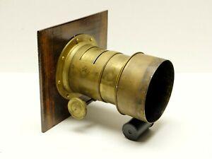 Gasc & Charconnet brass Petzval lens, 330mm