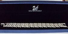 Signed Swan Swarovski Rhodium Plated Pave Bracelet
