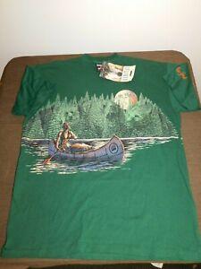 HABITAT HAB A RAP INDIAN CANOE MOON MENS COTTON 2 SIDED NY TEE SHIRT LARGE NEW