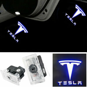 2Pcs White For Tesla Car+ Door LED Puddle Shadow Lights Projector Car Logo Ghost