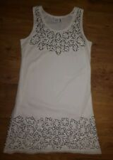 Quiz white and silver embellished dress. UK size 12. Shift dress. Mesh top layer