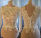 Custom Made White Ivory Wedding Jackets Illusion Long Sleeve Lace Bolero Jacket