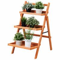 3 Tier  Wood Flower Outdoor Display Rack Folding Pot Shelf Stand Garden Yard
