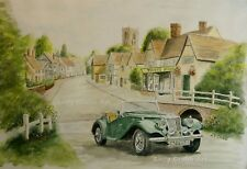 MG TF 1954 Kersey Village Suffolk watercolour print by Andy Crabb Classic Car