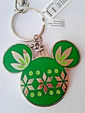 Disney World Holiday Mickey Mouse Two Sided Silver Key Chain