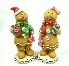 Set of 2 Glitter Dusted Boy and Girl Gingerbread Kids Tabletop Figures 10.5""