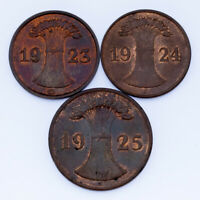 1923-1925 German 1 & 2 Rentenpfennig Coin lot of 3 (AU-BU) KM # 30, 38