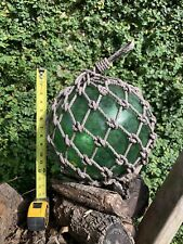 Vintage Large Japanese Blown Green Glass Fishing Buoy with Net 12� Diameter.