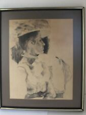 Antique Impressionist Charcoal Drawing of a Gibson Style Woman Framed