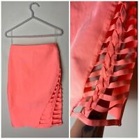 Wow Couture Neon Peach Coral Orange Bodycon Bandage Cut Out Skirt Size Large