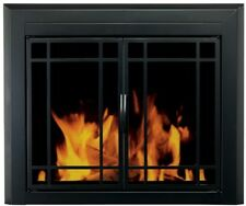 Fireplace Doors Large Size Tinted Glass Surface Mount with Riser Bar and Screen