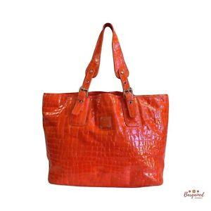 Authentic MCM Orange Crocodile Pattern Patent Leather Medium Shoulder Tote Bag