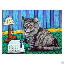 Norwegian Forest cat writing art Set of Notecards
