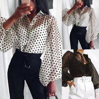 Women Lantern Sleeve Polka Dot Long Shirt Tops Buttons Down See Through Blouse