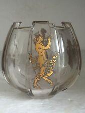"Vintage Cut Panel Art Deco MOSER Glass Gilt Globe Ball Vase 5"" SATYR AND BEAUTY"