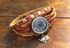 NEW Leather Hemp Wrap Quartz Watch Bracelet Wristband Vintage Cuff Brown Charm