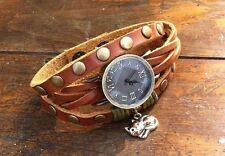NEW Leather Hemp Wrap Quartz Watch Bracelet Wristband Vintage Cuff Brown Charm