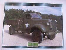 CARTE FICHE CAMION MILITAIRE GMC ACK 353 1940