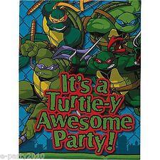 TEENAGE MUTANT NINJA TURTLES Vtg BLUE INVITATIONS (8) ~ Birthday Party Supplies