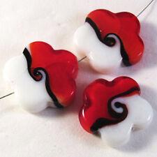Lot de 4 perles fleurs en Verre Lampwork Murano 25mm Rouge et Blanc