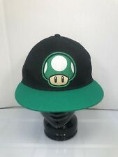 Super Mario Bros Hat Cap Mushroom Power Up Shroom Black Green Flat Bill