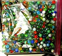 Over 5 Lbs Mixed Bulk Bag Vintage/Newer Marbles Variety  Sizes, Markers & Types
