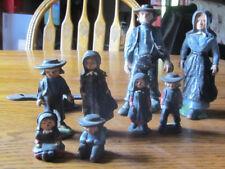 Lot of Mini Miniature Cast Iron Amish Family Man Woman Children Figure Figurine