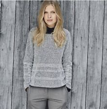 THE WHITE COMPANY Grey Leather Trim Textured Jumper, UK 14, BNWT £139