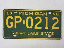 1968 Michigan License Plate, GP-0212, Oakland County    (A18)