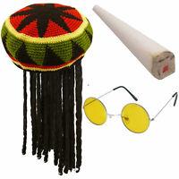 Blonde Bob Perruque Afro Caribbean 70s 80s Cheveux Rasta Jamaican fantaisie Dres Homme Noir
