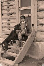 "1940 Photo, Boy and Hunting Dog, Rifle, gun, vintage Americana View, 17""x11"""