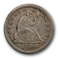 1856 S 25C Seated Liberty Quarter Extra Fine XF Key Date Tough Grade S Mint R469