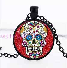 Red sugar skull Jewelry Necklace Glass Dome Black Pendant Necklace#C412