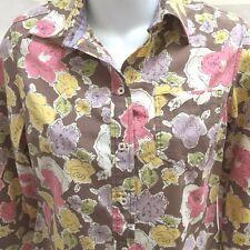 Boden Sz 8 Shirt Brown Multi Color Floral Button Down Long Sleeve Cotton Top
