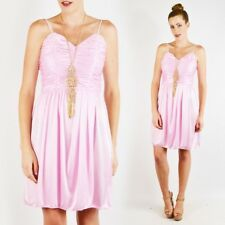 Vtg 70s 80s Disco Goddess Pink Sweetheart Ruched Empire Waist Party Mini Dress S